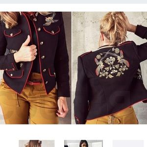 NWT ZARA XS Embroidered Military Jacket
